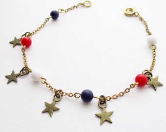 red white and blue bracelet,  vintage fourth of july bracelet, 4th of july, Independence Day bracelet, vintage patriotic bracelet