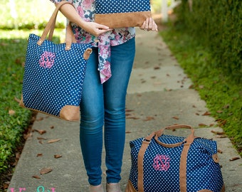 Monogram Luggage, Embroidered Travel Set, Navy Polkadot Duffle Bag Personalized Duffle Bag Matching Luggage Set Women's Luggage Gift for her