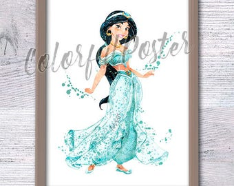 Jasmine art print Disney princess Jasmine art poster Disney watercolor decor Girls room decor Nursery room wall art Wall hanging decor V121