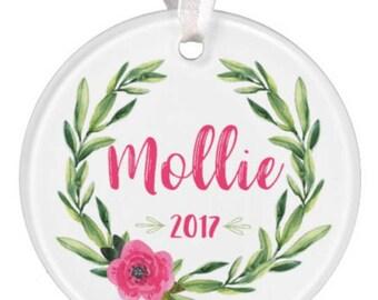 Baby Girl Ornament, Baby Ornament, Girl Ornament, Baby Girl Gift, Baby Gift, Wreath Ornament, Watercolor Ornament, Ceramic Ornament, RyElle