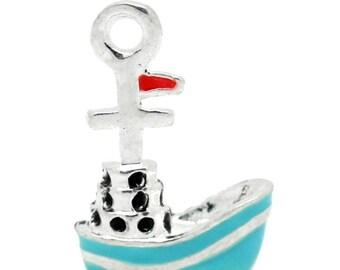 x 1 boat charm 20 mm silver metal blue enamel.