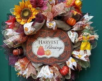 Harvest Blessings Fall Wreath