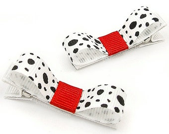 Dalmatian Hair Clips, Dalmatian Bows, Black, White, Red, Fireman Mascot, Gift Idea for Fire Fighter's Baby, Toddler Hair Clips, Dalmation