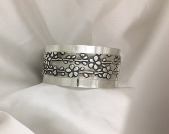 Flowers and Vines Sterling Silver Cuff