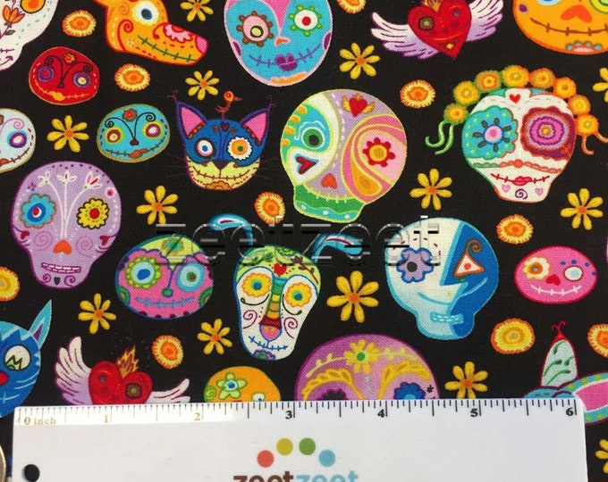 MEXICAN SKULLS & Spirit Animal HEADS Colorful Black Quilt Fabric - by the Yard, Half Yard, Fat Quarter Fq - Day of the Dead Folk Art Mexico