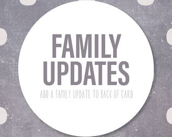 Add a Family Update to your Christmas Card, Holiday Card Xmas Card