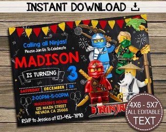 Ninjago Invitation, Ninjago Invitations, Ninjago Birthday, Ninjago Party,Ninjago Printable, Ninjago Birthday Party, Instant Download, PDF