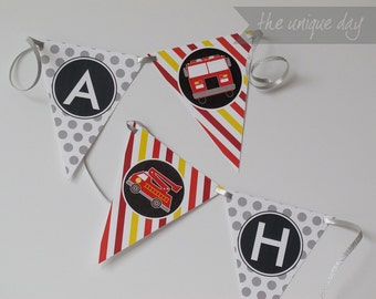 INSTANT DOWNLOAD Fire Truck Birthday Party Banner - Printable - Happy Birthday Banner // FIR