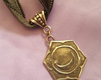Sacral Chakra  Silver Medallion