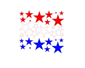 Red White Blue Stars, Set of 30. 4th of July Decor, Memorial Day Decorations, America Vinyl Decor, Vinyl Wall Decals, Wall Art Stickers