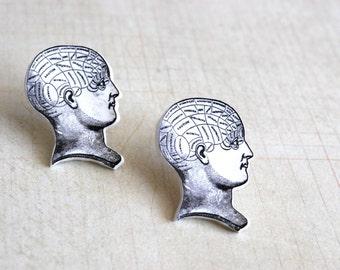Phrenology Head Studs -- Nurse Earrings, RN Earrings, Nurse Studs, Science