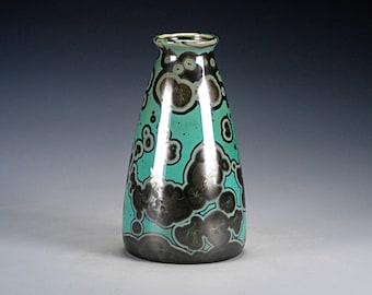 Ceramic Vase -  Green, Black, Malachite - Crystalline Glaze on High-Fired Porcelain - Hand-Made Pottery - FREE SHIPPING - #Y-599