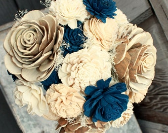 Sola flower bouquet, brides wedding bouquet, champagne and navy blue wedding flowers, navy blue bouquet, eco flowers, alternative keepsake