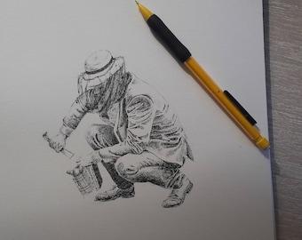 Original portrait beekeeper - pen - send me a message for a custom-made portrait/drawing