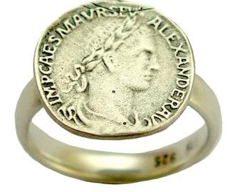 Bague, bague en argent sterling, bague Alexander Severus, simple anneau, anneau de monnaie en argent, bague délicate, bague de reproduction - mon icône R1493 de pièce