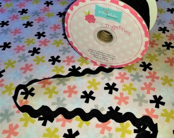 "3/4"" Riley Blake Design Sew Together Ric Rac in ""Black""   BTY"