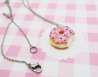 Pink Donut necklace with sprinkles, food jewelry, donut jewelry, food necklace, kawaii donut, kawaii necklace, donut necklace, birthday gift