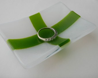 Small Green and White Rectangle Fused Glass Dish