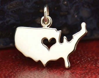 Sterling Silver United States Charm with Cut Out