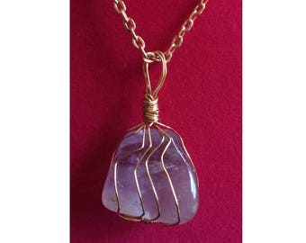 Amethyst Pendant, Handmade, Wire Wrapped Crystal (Copper Wire #2)