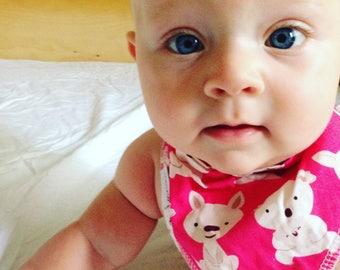 Pink Kangaroo & Koala Dribble Bib - Handmade Australian Adjustable Bib for Baby Girls - Made in Sydney