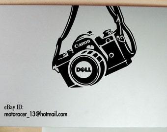 Dell camera Canon sticker for all laptop sizes! BLACK high quality vinyl  decal in PC