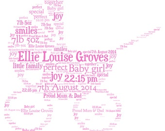 Personalised Word Art - Pram Design - New baby girl or baby boy - A4 Print or Digital File