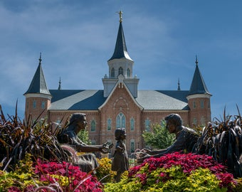 Provo City Temple with statue