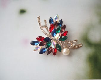 Multi-Colour Crystal Brooch, Leaf Brooch