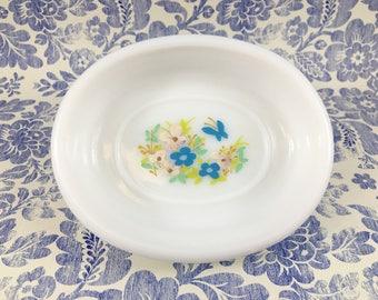 Avon Milk Glass Hand Painted Soap Dish