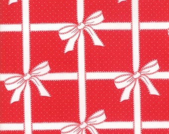 Vintage Holiday Red All Wrapped Up by Bonnie & Camille of Moda Fabric, 55165 11, Sold By the 1/2 Yard