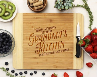 Personalized Cutting Board, Custom Cutting Board, Engraved Cutting Board, Grandma's Kitchen Custom Engraved Board, Bamboo --21114-CUTB-001
