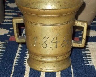 Excellent 19th Century Antique Brass Apothecary Mortar Dated 1845