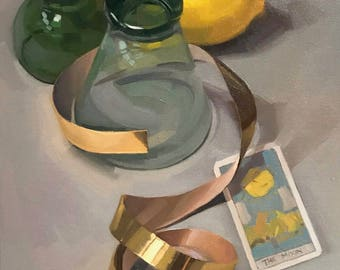 """Fine Art painting still life """"Over the Moon"""" 12x16"""" original oil on canvas by Sarah Sedwick"""