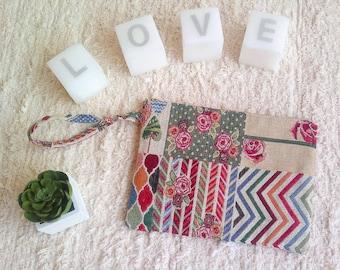 Hand bag, fabric bag, printed bag, patchwork, clutch