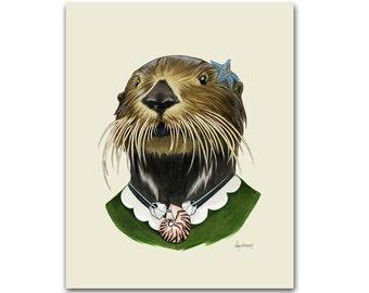 Sea Otter Lady art print - Animal art - Nursery art - Nursery decor - Animals in Clothes - Children's art - Ryan Berkley Illustration 8x10
