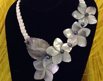 Mother Of Pearl Shells & Black Fresh Water Pearls Necklace. Perfect For Polynesian Dancers, Beach Wedding, Bridesmaids, Luau. For All Ages