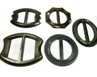 Five Early Plastic Belt Buckles, Dark Green and Black Dress Buckles, Slide Buckles, Dressmaker Buckles, Assemblage Supply, 1930s, 1940s