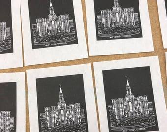 Bountiful Utah LDS Temple Original Linocut Print
