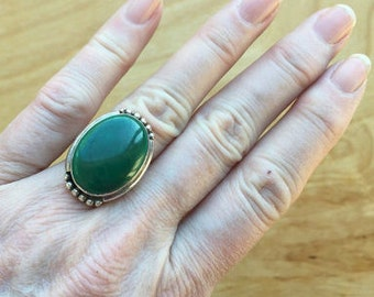Green Stone Sterling Ring - 219