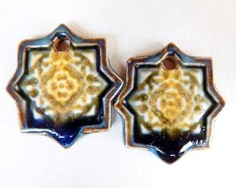 tribal Earrings charms, ceramic star charms, star earrings supplies, tribal ceramic jewelry supplie, earring finding, tribal ceramic pendant