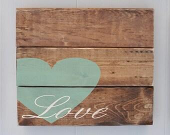 Wood Plank Love Sign, Home Decor Sign, Custom Rustic Wood Sign, Anniversary Gift, Wedding Gift, Sage,Wall Art