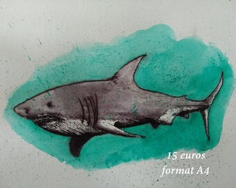 Great white shark in ink