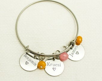 Personalized Mother's Day Gift | Grandmother | Bangle | Mommy Jewelry | Child Name Bracelet | Birthstone Bangle | Charm Bracelet for Mom