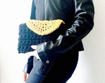 Bolso de embrague - ganchillo - cubierta bicolor
