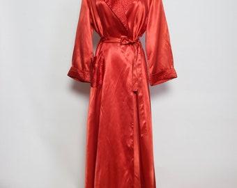 Vintage 1940s Silk Satin Red Robe