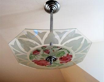 Antique chandelier romantic palette 1930 s signed LOYS