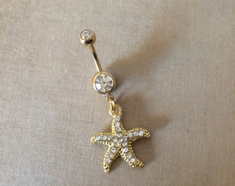 gold belly ring, Belly button ring,starfish, bellybutton ring, beach wedding, body jewelry, GOLD navel bar belly ring piercing wholesale
