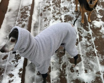 Fleece Body Suit of Polartec 200 with Head Covering Snood w/toggle  for Italian Greyhounds and all small dogs.
