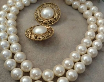 Classic Strand Pearl Necklace, Earrings, Set, Ivory, Vintage, Clip On, Filigree